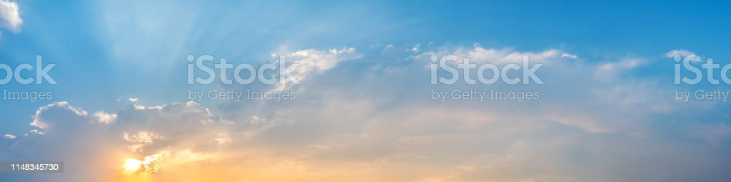 Dramatic panorama sky with cloud on sunrise and sunset time....