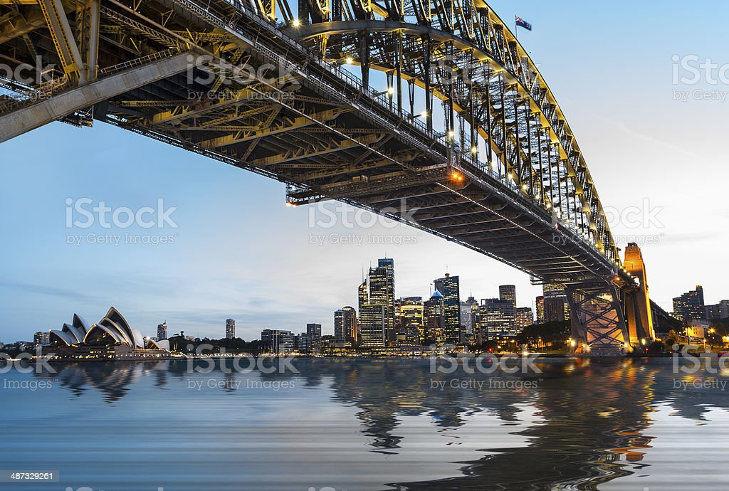 Dramatic panoramic sunset photo Sydney harbor stock photo