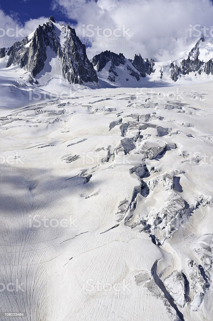 Dramatic peaks glacier crevasses royalty-free stock photo