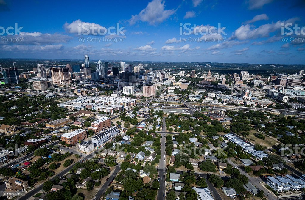 Dramatic Perspective Over East Austin Texas Aerial Cityscape stock photo