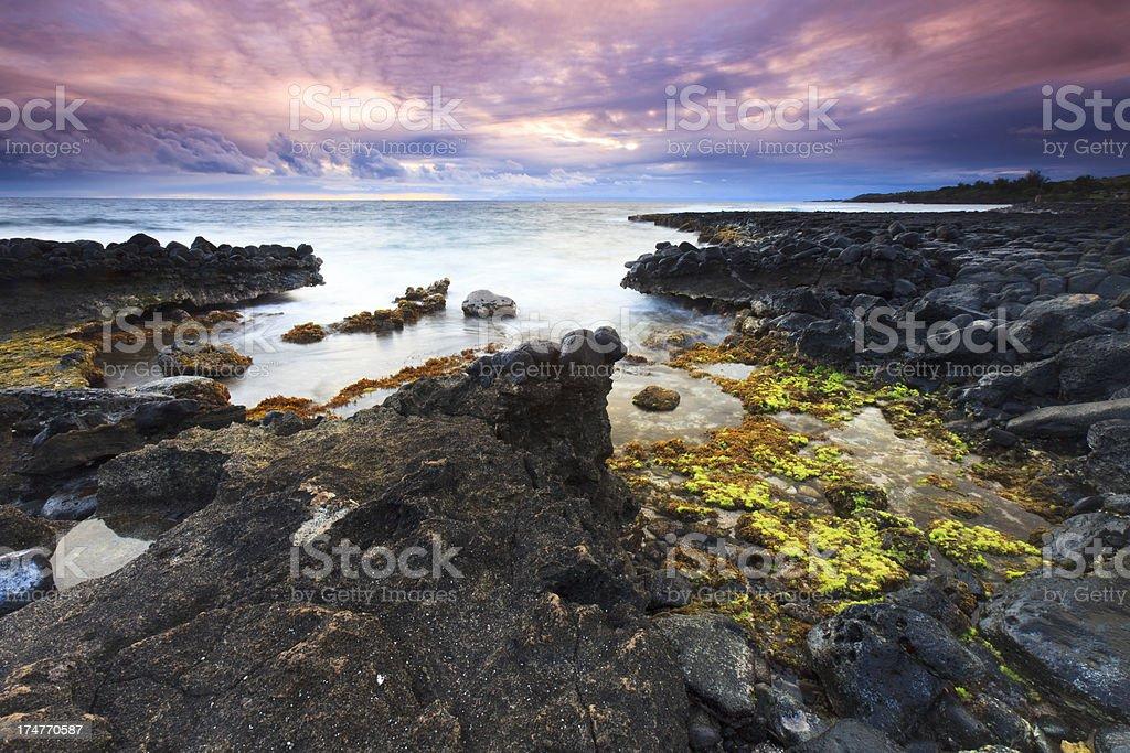Dramatic Poipu Sunset stock photo