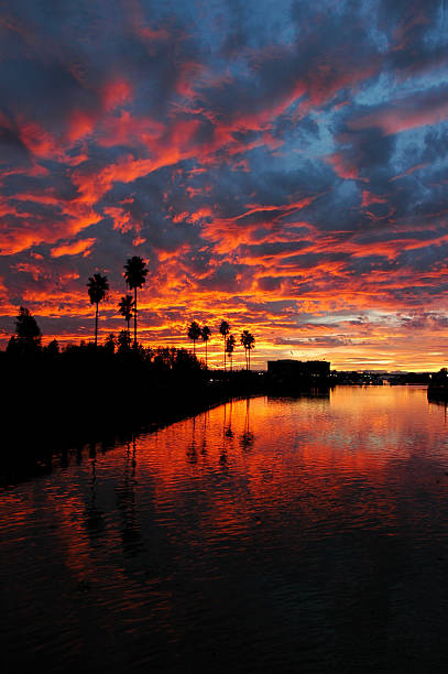 Dramatic Red Sunset Reflected  over California stock photo
