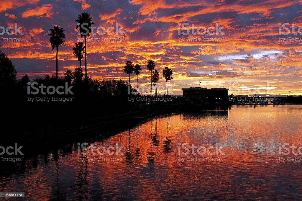 Dramatic Red Sunset Reflected over Stockton stock photo