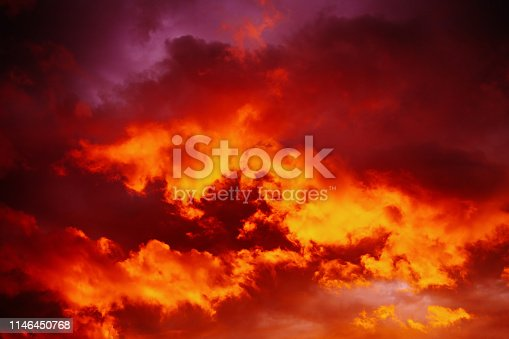Dramatic red sunset sky. Cloudy sky.