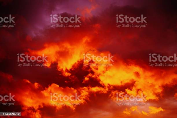 Photo of Dramatic red sunset sky.
