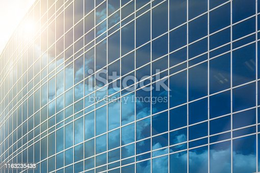 Dramatic Reflective Corporate Building Background.