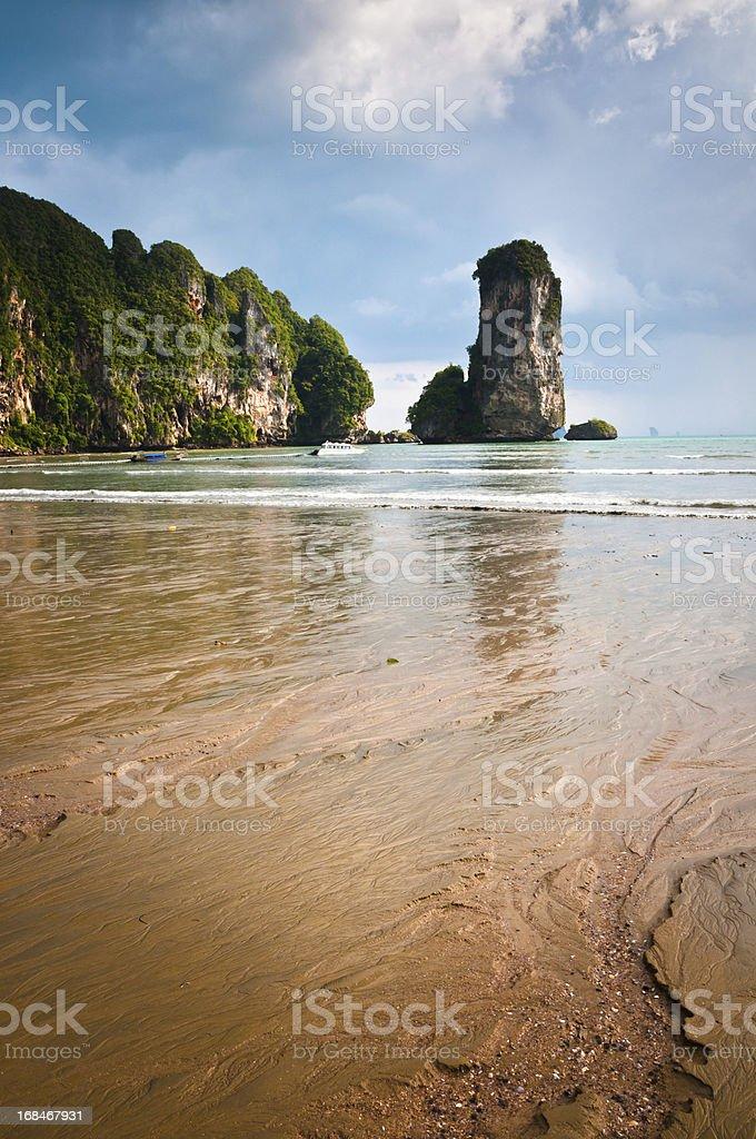 Dramatic Rock Formations At The Beach In Ao Nang, Thailand royalty-free stock photo