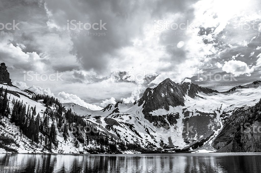 Dramatic Rocky Mountains Landscape Black and White stock photo