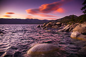 A dramatic sunset in the gorgeous setting of Sand Harbor, on the Nevada side of Lake Tahoe.