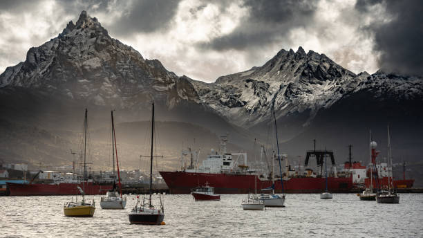Dramatic sea port and the Andes mountains stock photo