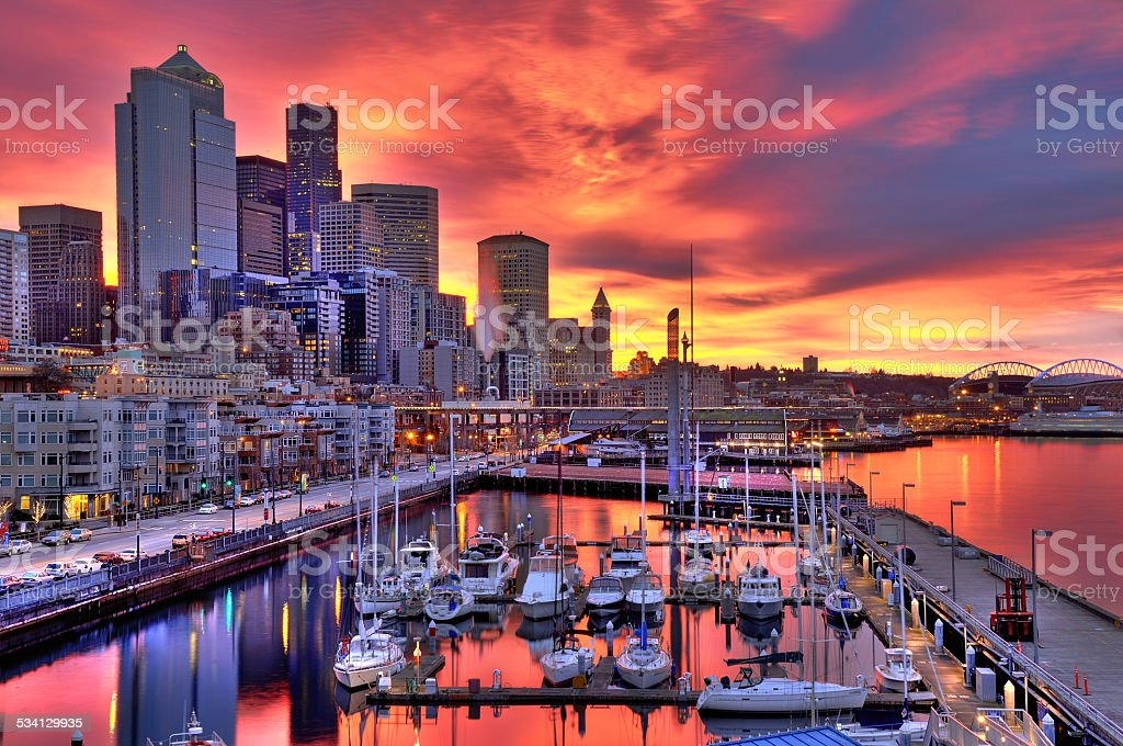 Dramatic Seattle skyline at dawn stock photo