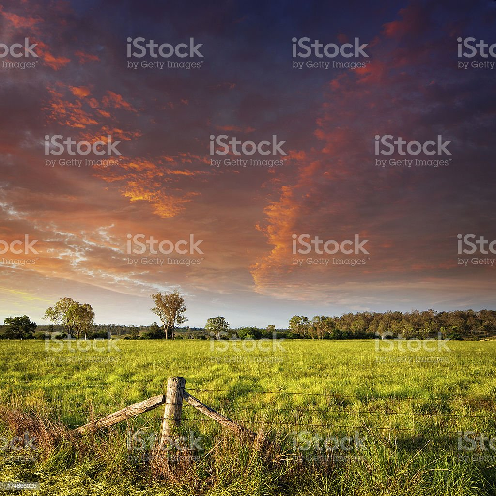 Dramatic skies over field stock photo