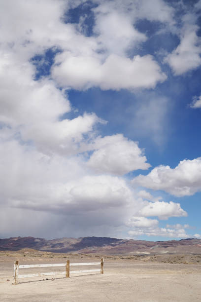 Dramatic skies over Fish Lake Valley in Nevada stock photo