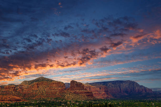 Dramatic skies over red rocks in Sedona Arizona, no people, copy space, background sunset sky stock photo