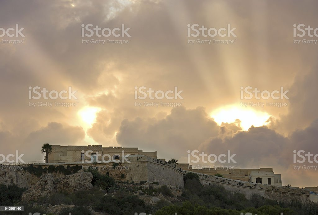 Dramatic Sky Above A Fortress royalty-free stock photo