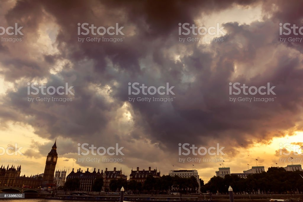 Dramatic sky above the City of Westminster at sunset stock photo