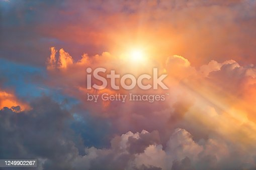 istock Dramatic sky and Cloudscape with sunbeams 1249902267