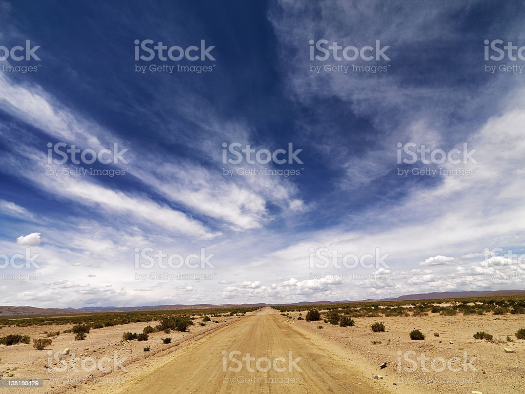 Dramatic Sky and  road in  the desert royalty-free stock photo