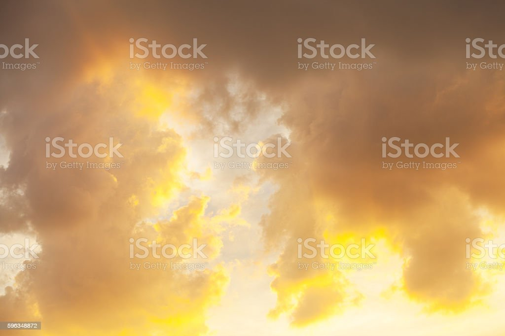 Dramatic sky and yellow sunlight royalty-free stock photo
