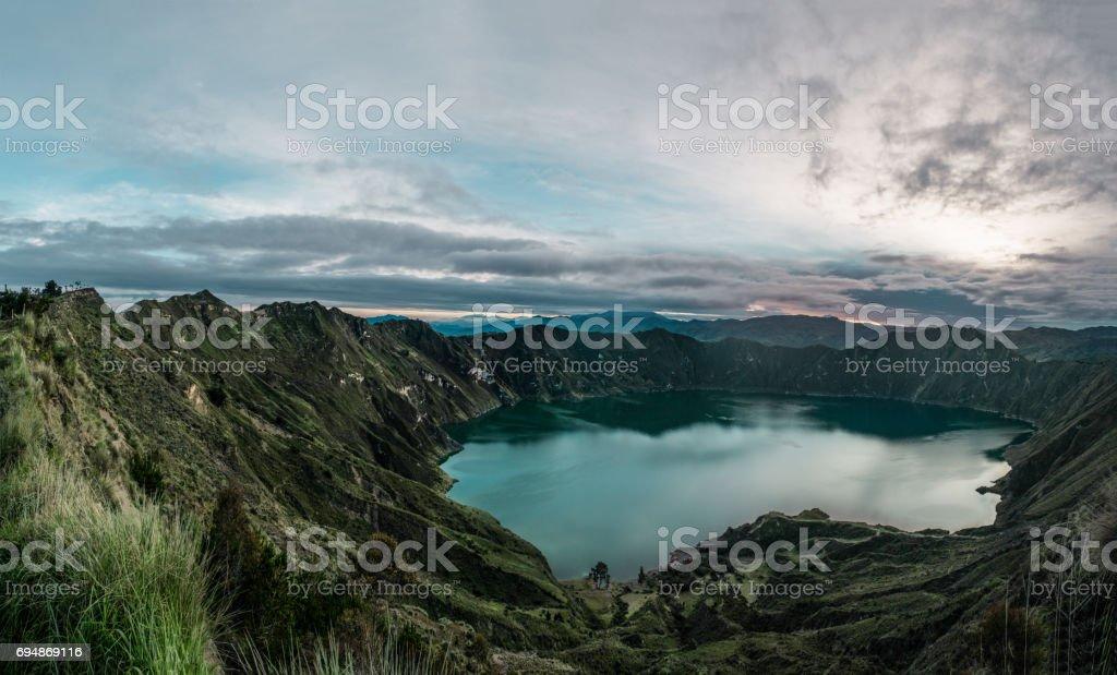 dramatic sky at quilotoa loop stock photo