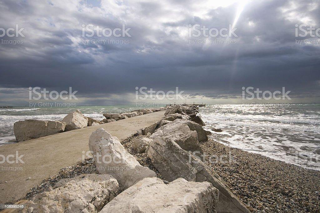 Dramatic sky at Venice lido royalty-free stock photo