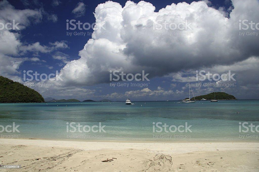 Dramatic sky over a beautiful Caribbean Beach royalty-free stock photo