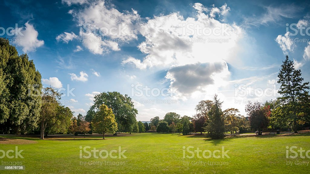 Dramatic Sky Over A Public Park In Cheltenham, United Kingdom stock photo