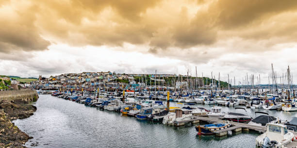 Dramatic sky over Brixham looking towards town stock photo