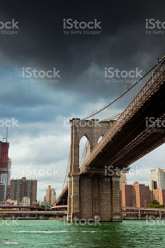 Dramatic sky over Brooklyn bridge in New York City royalty-free stock photo
