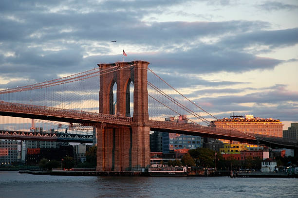 Dramatic sky over Brooklyn Bridge stock photo