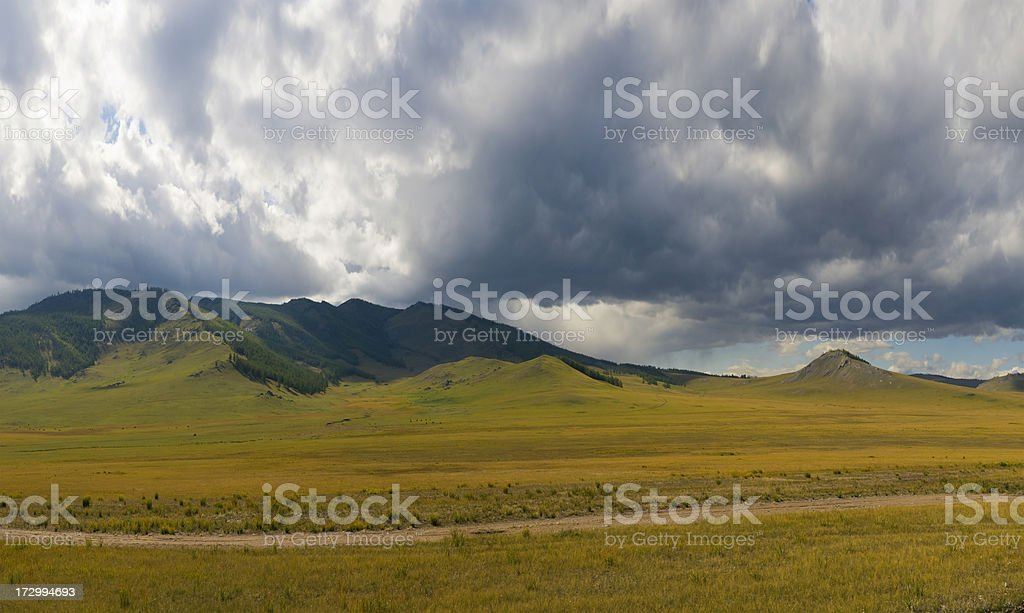 Dramatic sky over Mongolian steppe stock photo