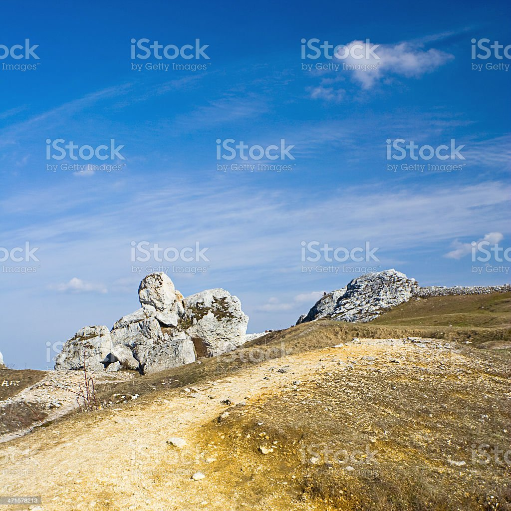 Dramatic sky over old limestone rocks royalty-free stock photo