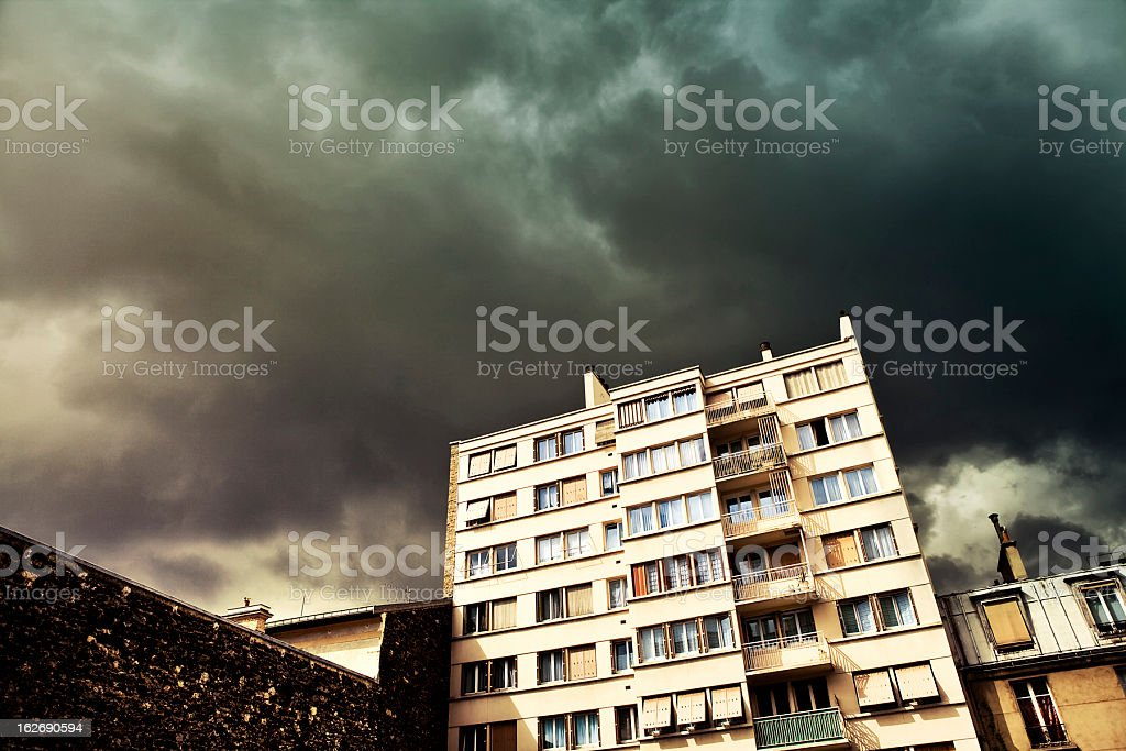 Dramatic sky over Paris royalty-free stock photo