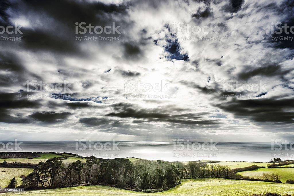 Dramatic sky over the Jurassic coastline royalty-free stock photo