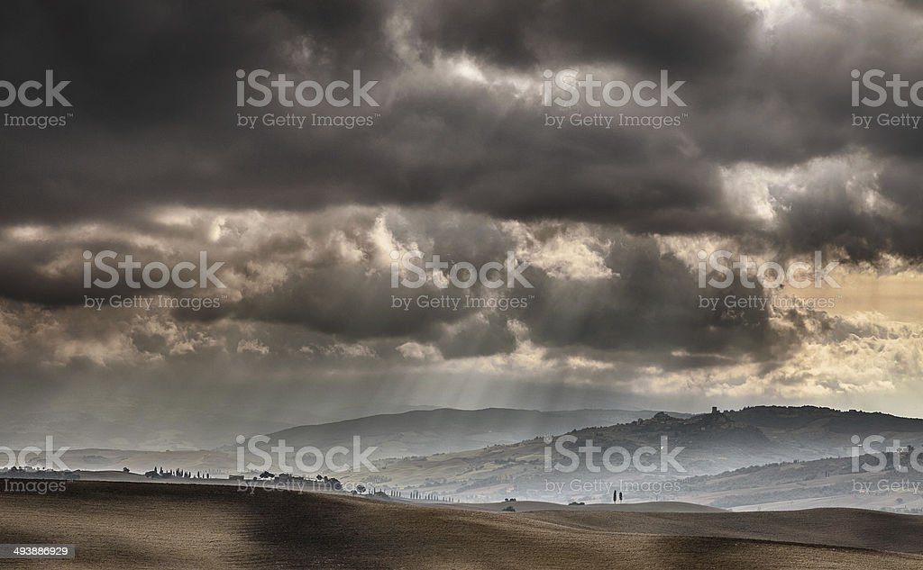 dramatic sky over Tuscany royalty-free stock photo