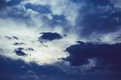 Dark clouds in the evening sky