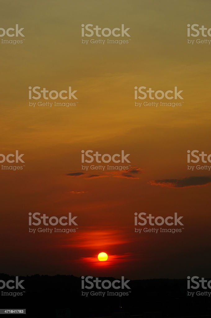 Dramatic sky with clouds and sun royalty-free stock photo