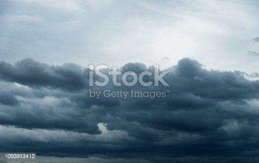 istock Dramatic sky with cumulonimbus clouds 1093913412
