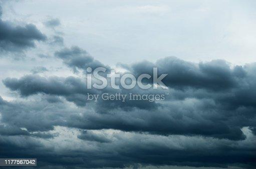 istock Dramatic sky with cumulonimbus clouds 1177567042