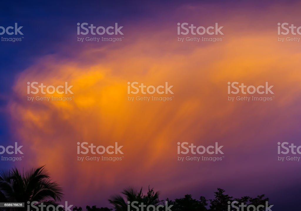 Dramatic sky with orange clouds royalty-free stock photo