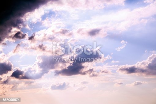 istock Dramatic sky with stormy clouds 867095574