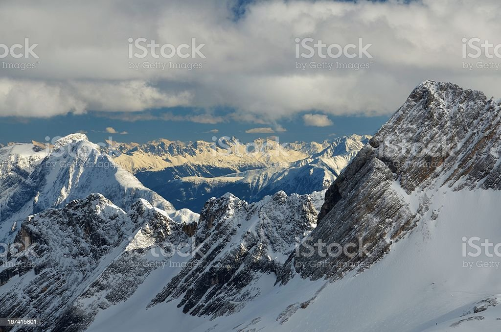 Dramatic Snow Capped Mountain Peaks in the German Alps royalty-free stock photo