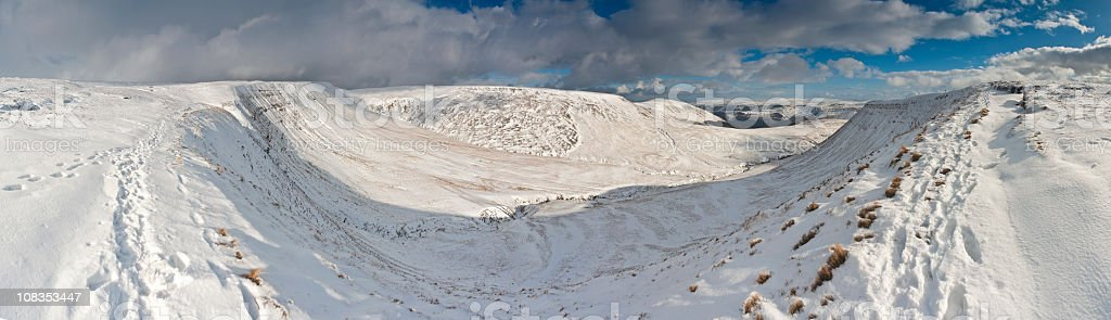 Dramatic snow capped mountains, Brecon Beacons, Wales, UK royalty-free stock photo