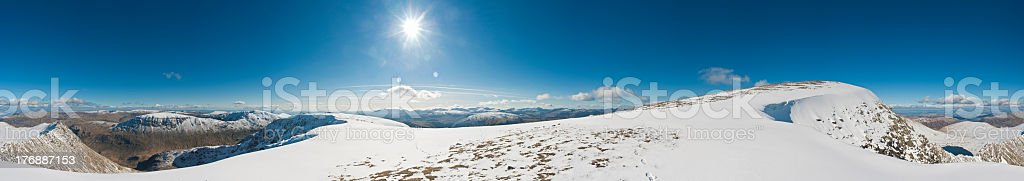 Dramatic snow capped mountains, Lake District, England, UK royalty-free stock photo