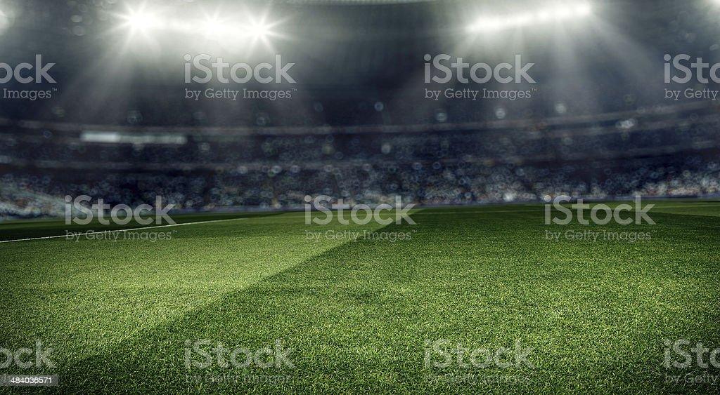 Dramatic soccer stadium background stock photo