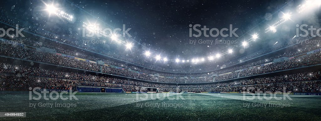 Dramatic soccer stadium panorama stock photo