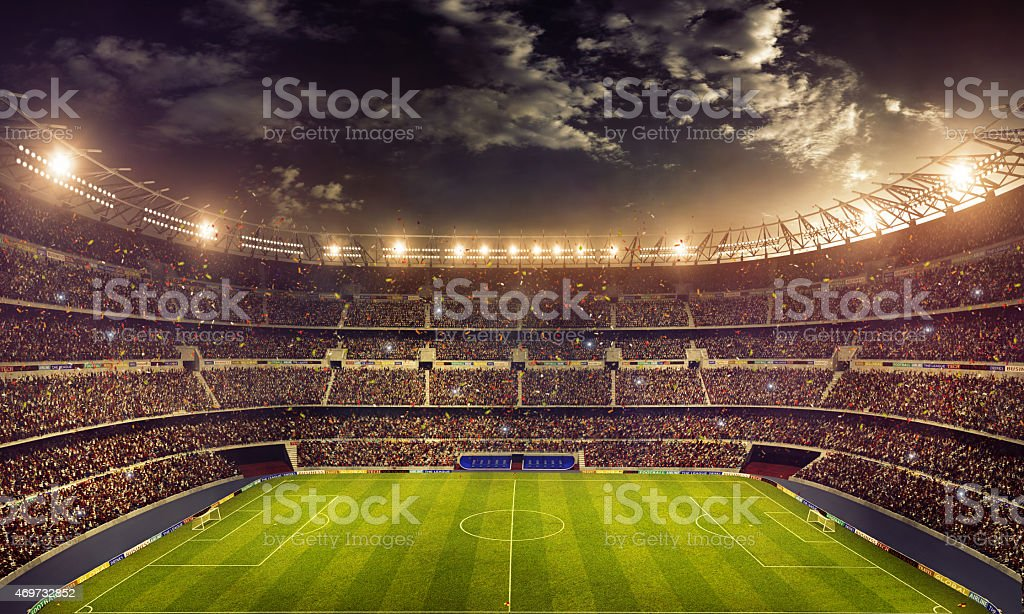 Dramatic soccer stadium stock photo