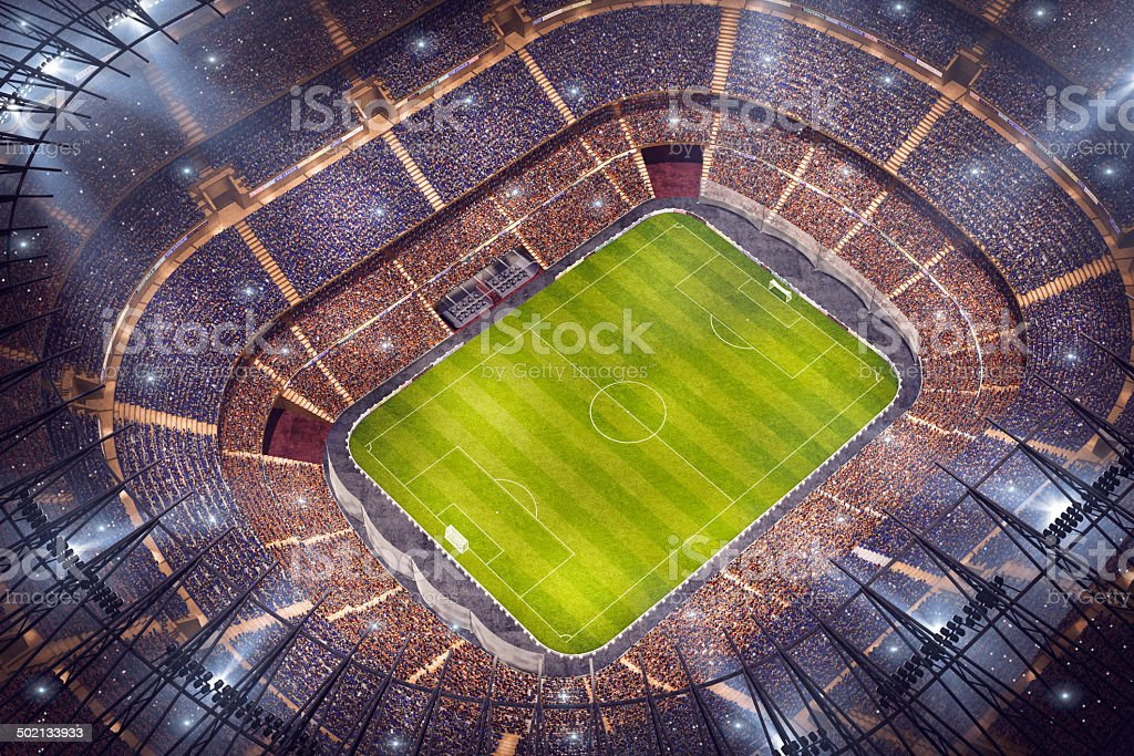 Dramatic soccer stadium royalty-free stock photo
