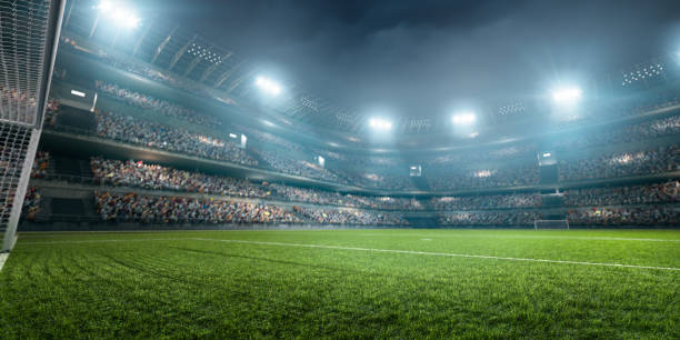 dramatic soccer stadium - soccer competition stock photos and pictures