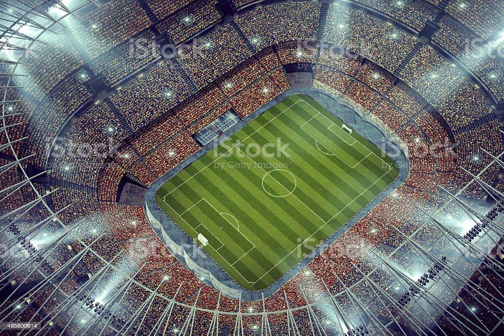 Dramatic soccer stadium upper view stock photo